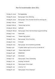 Plan for brukerkvelder våren 2011