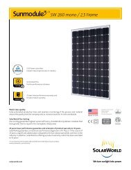 Sunmodule Plus 260 watt mono data sheet - SolarWorld