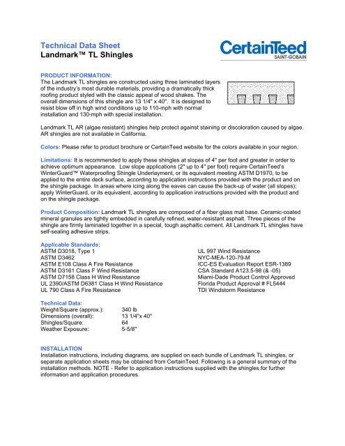 Technical Data Sheet Landmark Tl Shingles