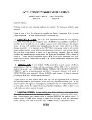 Attendance/Health letter - Jane Lathrop Stanford Middle School