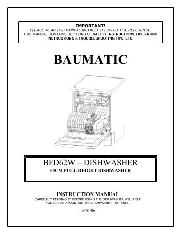 baumatic dishwasher instruction manual