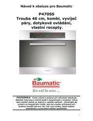 P470SS Trouba 46 cm, kombi, vyvíječ páry, dotykové ... - baumatic.cz