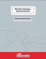 BV13A Unterbau- Gefrierschrank - baumatic.cz