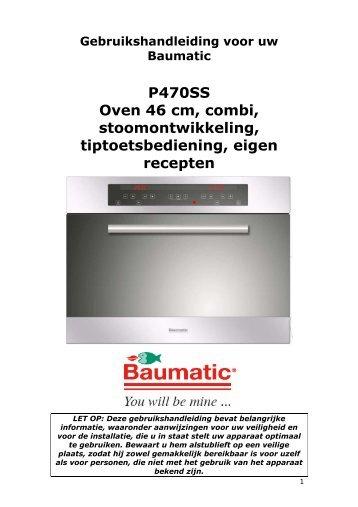 P470SS Oven 46 cm, combi, stoomontwikkeling, tiptoetsbediening ...