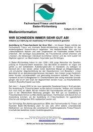 Medieninformation WIR SCHNEIDEN IMMER SEHR GUT AB!