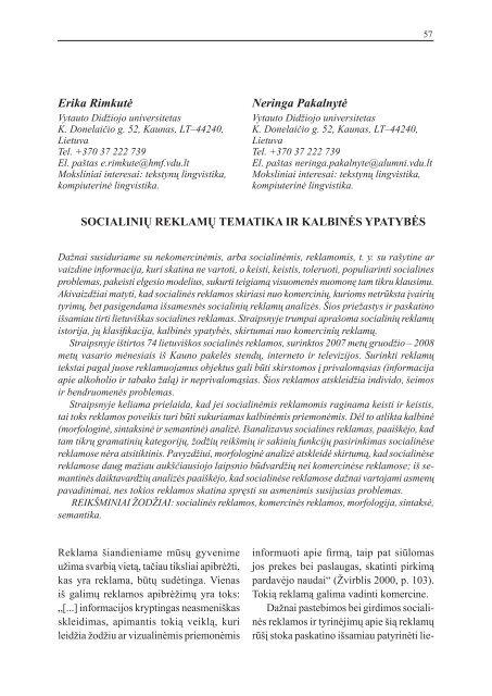 Erika Rimkutė Neringa Pakalnytė Respectus Philologicus
