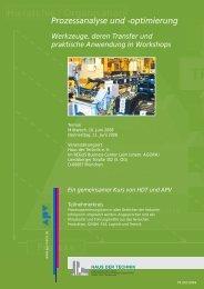 Prozessanalyse und -optimierung Werkzeuge, deren Transfer ... - APV