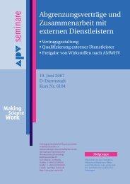 Abgrenzungsverträge und Zusammenarbeit mit externen - APV