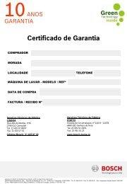 Certificado de Garantia - Bosch