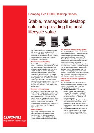 Stable, manageable desktop solutions providing the best lifecycle ...