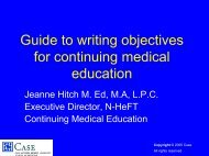 Guides to Writing Objectives for CME - Case Western Reserve ...
