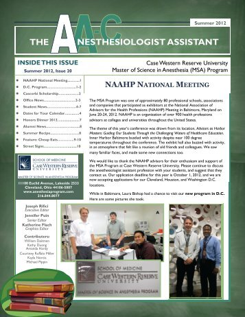 nesthesiologist assistant the - Case Western Reserve University ...