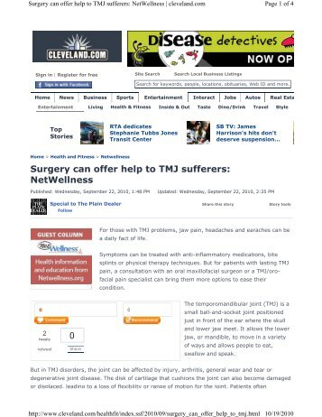 Surgery can offer help to TMJ sufferers: NetWellness