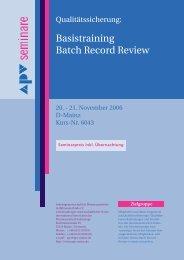 Basistraining Batch Record Review Basistraining Batch ... - APV
