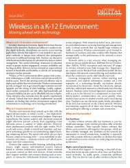 Wireless in a K-12 Environment: - Center for Digital Education