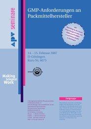 Gmp-Anforderungen an Packmittelhersteller - APV