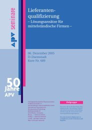 Lieferanten- qualifizierung - APV
