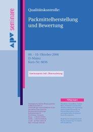 Packmittelherstellung und Bewertung - Arbeitsgemeinschaft für ...