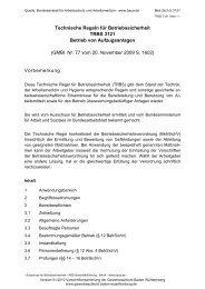 Technische Regel für Betriebssicherheit TRBS 3121 Betrieb von ...