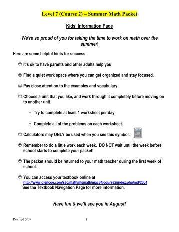 Level 6 Course 1 Summer Math Packet Middletown High School