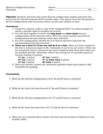 Electron Configuration Electron Configuration Chart Template 2 Electron  Configuration