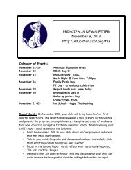 PRINCIPAL'S NEWSLETTER November 9, 2012 http://education ...