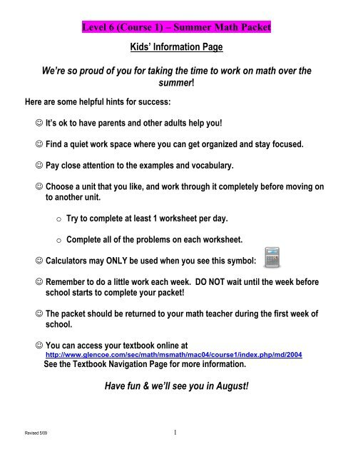 Level 6 (Course 1) – Summer Math Packet - Middletown High School
