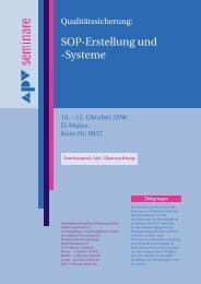 Sop-Erstellung und -Systeme - APV