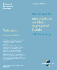reset feature on Ideal Segregated Funds - Standard Life