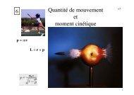 Quantité de mouvement et moment cinétique
