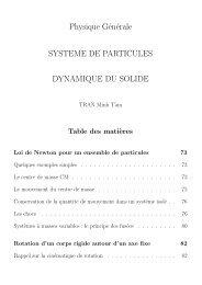 Physique Générale SYSTEME DE PARTICULES DYNAMIQUE DU ...