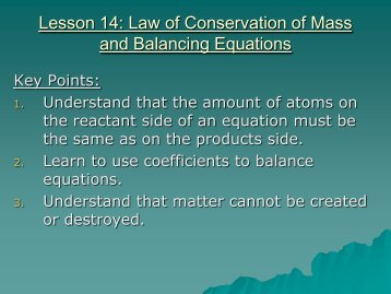 Lesson 14: Law of Conservation of Mass and Balancing Equations