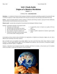 Unit 1 Study Guide: Origins of a Western Worldview