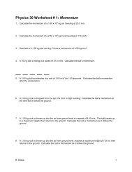 Momentum Worksheets
