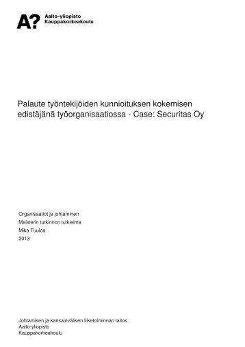 Case: Securitas Oy - Aalto-yliopisto