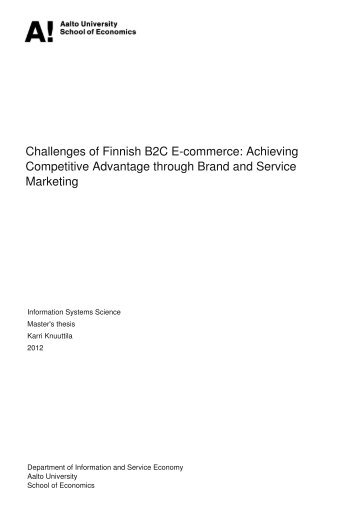 Challenges of Finnish B2C E-commerce: Achieving Competitive ...