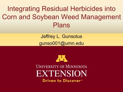 Integrating Residual Herbicides Into Corn And Soybean Weed
