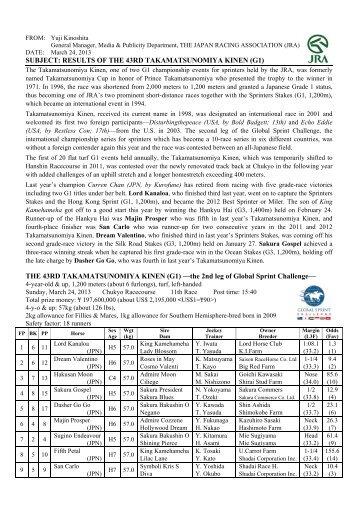 PDF(112kb) - Horse Racing in Japan