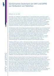 Gemeinsames Statement von APV und DPHG zur Teilbarkeit