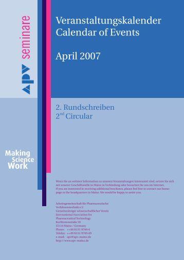 Veranstaltungskalender Calendar of Events April 2007 - APV