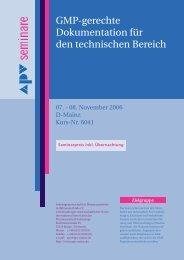 Gmp-gerechte Dokumentation für den technischen Bereich - APV