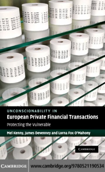 Unconscionability in European Private Financial Transactions ...