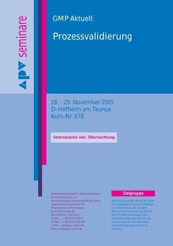 seminare seminare - Arbeitsgemeinschaft für Pharmazeutische ...