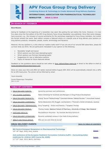 APV Focus Group Drug Delivery