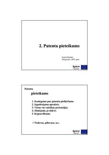 2. Patenta pieteikums