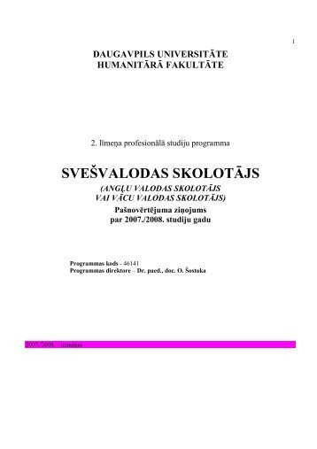 SVEŠVALODAS SKOLOTĀJS - Daugavpils Universitāte