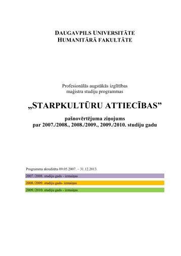 """""""STARPKULTŪRU ATTIECĪBAS"""" - Daugavpils Universitāte"""