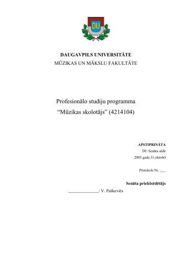 Mūzikas skolotājs - Daugavpils Universitāte