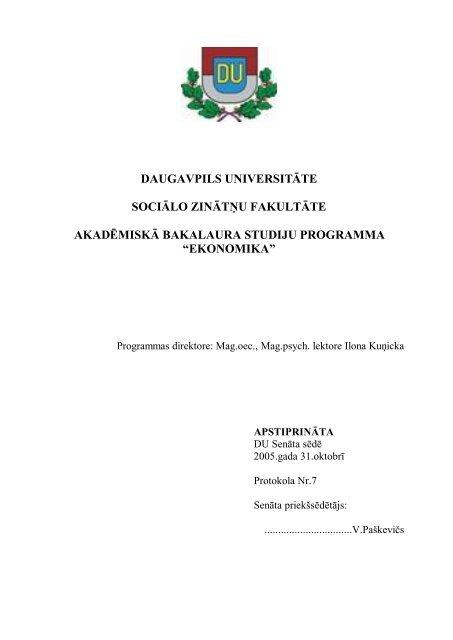ekonomika - Daugavpils Universitāte