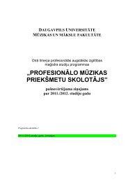 profesionālo mūzikas priekšmetu skolotājs - Daugavpils Universitāte